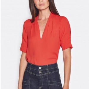 Joie Women's Ance Scarlet Red Silk Top Small
